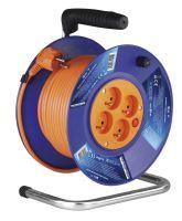 kábel predlžovací, oranžový, na odvíjcom bubne, 4 zásuvky, 25 m, ~ 230 V / 16 A