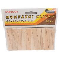klinky drevené, montážne, balenie 20 ks, 65 x 18 x 12 - 0 mm