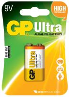 batérie GP Ultra Alkaline, 6LF22, plochá, blister 1 ks, 9 V