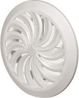 mriežka vetracia, plastová, biela, guľatá, vejárové rebrovanie zo sieťkou, O 135/100 mm