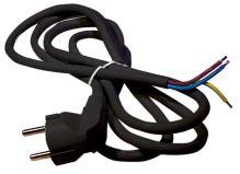 šnúra flexo, PVC, čierna, vidlica uhlová, neoddeliteľná, 3 m, vodič 3 x 1,5 mm