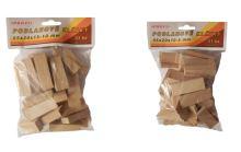 klinky drevené, podlahové, balenie 51 ks, 55 x 20 x 10 - 5 mm
