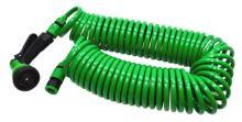 hadica zahradná,špirálová,pištoľ plast-rozstrekovač,7 funkcií,na rýchlospojky,súprava,15m