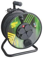 kábel predlžovací,gumený,čierny,na odvíjacom bubne,4 zásuvky,tepelná poistka,50m,~230V/16A