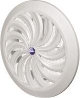 mriežka vetracia, plastová, biela, guľatá, vejárové rebrovanie zo sieťkou, O 135/110 mm