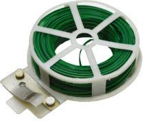 drôt oceľový, poplastovaný, zelený, planžetové nožnice v plastovom puzdre, 0,4 mm x 30 m