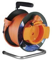 kábel predlžovací,oranžový,na odvíjacom bubne,so spojkou,tepelná poistka,50m,~230V/16A