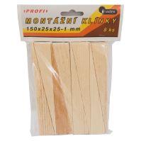 klinky drevené, montážne, balenie 8 ks, 150 x 25 x 25 - 1 mm