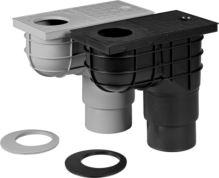 vpusť kanalizačná, plastová, prietok 390l / 530l / min., so spodným vývodom O 110/125 mm