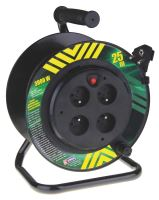 kábel predlžovací,PVC,čierny,na odvíjacom bubne,4 zásuvky,pevný stred,25m,~230V/13A