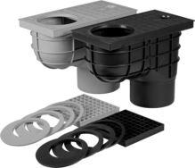 vpusť kanalizačná, plastová, prietok 390l / min., so spodným vývodom O 110 mm