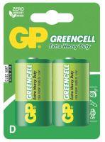 batérie GP Greencell, zinkovo - chloridová R20, veľké mono D, blister 2 ks, 1,5 V