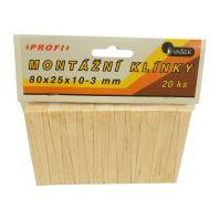 klinky drevené, montážne, balenie 20 ks, 80 x 25 x 10 - 3 mm
