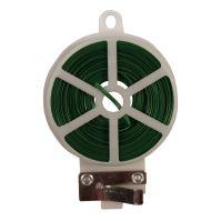 drôt oceľový, poplastovaný, zelený, planžetové nožnice v plastovom puzdre, 0,4 mm x 50 m