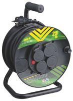 kábel predlžovací,gumený,čierny,na odvíjacom bubne,4 zásuvky,tepelná poistka,25m,~230V