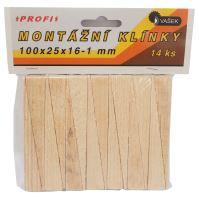 klinky drevené, montážne, balenie 14 ks, 100 x 25 x 16 - 1 mm
