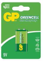 batérie GP Greencell, zinkovo - chloridová 6F22, plochá, blister 1 ks, 9 V