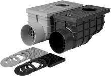 vpusť kanalizačná, plastová, prietok 375l / min., s bočným vývodom O 110 mm