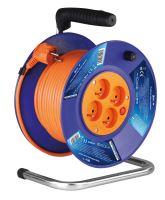 kábel predlžovací, oranžový, na odvíjacom bubne, 4 zásuvky, 50 m, ~ 230 V / 16 A
