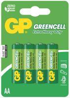 batérie GP Greencell, zinkovo - chloridová R6, ceruzka AA, blister 4 ks 1,5 V